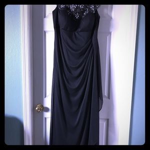 XSCAPE Formal Navy Beaded Gown